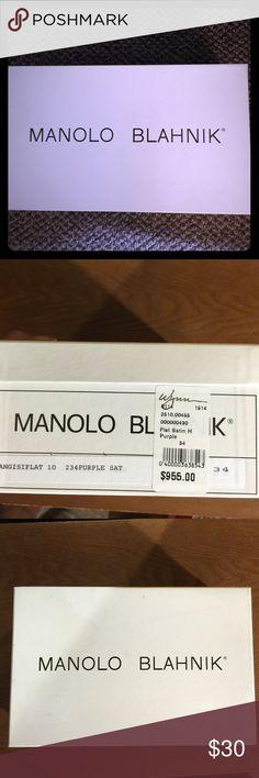 Manolo Blahnik Shoe Box Excellent Condition Manolo Blahnik Shoes