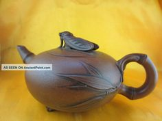 Antique Yixing Teapot Vivid Cicada Rest Bamboo Leaves Delicate Carving
