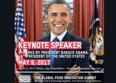 Barack Obama a Milano in occasione del Seeds&Chips Global Food Innovation Summit 2017