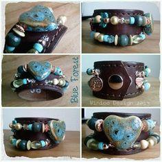 Armbanden van oude riemen. De harten zijn van keramiek - Bracelets from old belts. The hearts are made of ceramic.