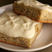 Frosted Banana Bars, Recipe from Cooking.com  Even better if you add a generous helping of good rum (2 tablespoons) to the frosting.