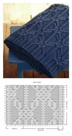 Loom Knitting Stitches, Cable Knitting Patterns, Knitting Charts, Lace Knitting, Knitting Designs, Knit Patterns, Knitted Blankets, Crochet Tutorials, Diy Crafts