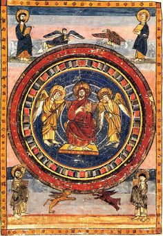 Maiestas Domini (Christ in Majesty) with the Four Evangelists and their symbols, at the start of the New Testament; page from Codex Amiatinus (fol. Cathedral Architecture, Art And Architecture, Francis Of Assisi, Anglo Saxon, Medieval Art, New Testament, Christian Art, 15th Century, Christianity