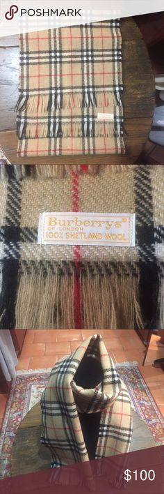 Original Authentic Vintage Burberry Scarf! Signature plaid Burberry. 100% Shetland Wool. Fringed edges. Made in Scotland. Burberry Accessories Scarves & Wraps