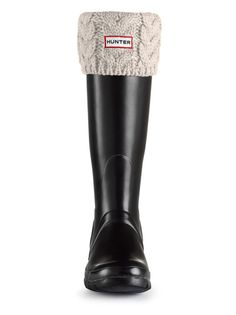 Hunter Chunky Cable Cuff Welly Socks - Ivory S24187