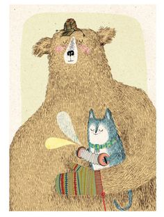 Bear and cat illustration by KateHindley. It seems that the bear is humanised and has a pet - a cat, which is also human-like. The background pattern makes the image look very soft and warm. Greta M.