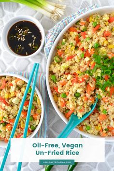 Nutritarian Un-Fried Rice No Oil Vegan Fried Rice Recipe Tofu Fried Rice Dr Fuhrman Fast Food Genocide Eat to Live 6 week plan Dr Greger How Not to Die Daily Dozen meal plan Whole FOod Plant Based Low Sodium Fried Rice Rice Recipes, Whole Food Recipes, Vegetarian Recipes, Dinner Recipes, Healthy Recipes, Detox Recipes, Easy Recipes, Vegan Fried Rice, Vegan Fries