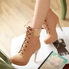 Lace-Up Heel Ankle Boots from #YesStyle <3 Colorful Shoes YesStyle.com