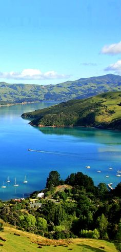 Waterfront at beautiful Akaroa, app 1 hour's drive E of Christchurch, New Zealand