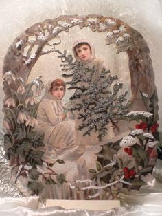 MY..christmas-dream !!    MEIN...Sahneteil !! Winterkinder im Traum-Winterwald und die...Welt wird ganz still..... REPRO....Victorian die-cut - scrap Winterchildren in the winter-wood