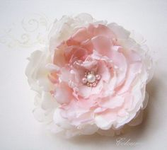 Large Peony Handmade Bridal Fabric Flower Ivory Pink by coloureen