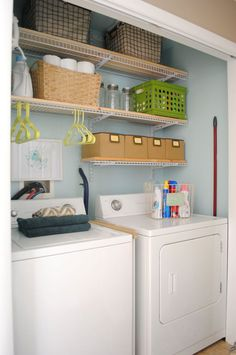 "This is the LAUNDRY ROOM ""closet"" REVAMP that I tackled in one weekend and for around $200! By removing the old and half-broken shelving, painting the walls a…"