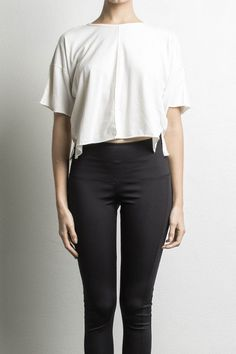 """100% cotton oversized cropped t-shirt handmade in downtown los angeles (model is wearing size x-small and is 5'9"""")"""