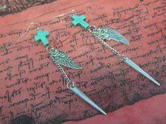 Cross Wing Spike Earrings Cross Earrings Charm by SpoiledRockN, $13.50