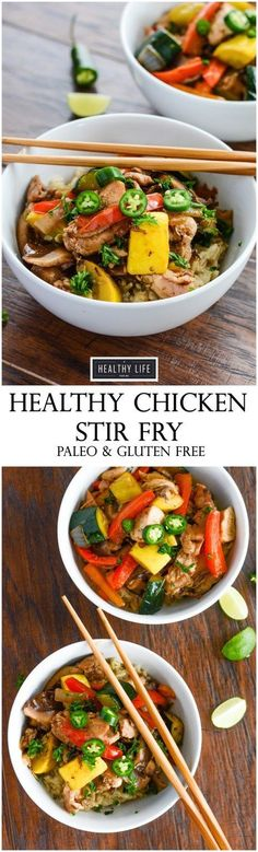You can enjoy this Healthy Paleo Chicken Stir Fry in your home kitchen in 30 minutes. Filled with the delicious flavors of stir, organic chicken and loads of freshly diced vegetables. Gluten Free + Dairy Free - A Healthy Life For Me