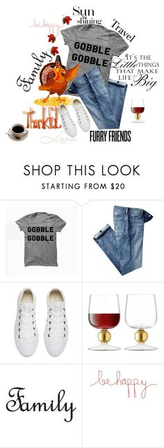 """Be Thankful!"" by juliehooper ❤ liked on Polyvore featuring 7 For All Mankind, Converse, LSA International, WALL, Natural Life, comfy, polyvoreeditorial and BLESSINGS"