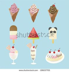 Fancy ice creams and summer dessert icon with 9 different look in isolated background, design by vector