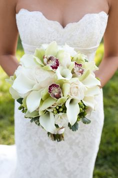 Orchid, calla lily and rose bouquet