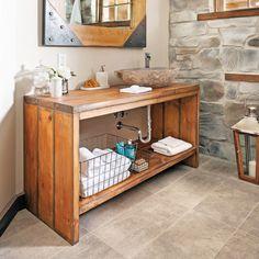Fabriquer un meuble-lavabo tendance s'avère plus facile quece que l'on pourrait penser. En construire un avec un aspectde bois vieilli sans dépenser une fortune chez un antiquaireest tout aussi réalisable. En voici la preuve en étapes!