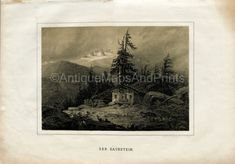 Instant Download Primitive Cabin In The Woods 400 Dpi Antique Print Repro For Crafting German