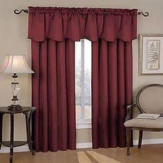 Eclipse Curtains Canova Rod Pocket Window Curtain Panel; Burgundy (Red)