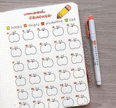 If you track your mood every month, why not add some seasonal spread? Like this cute October pumpkins bullet journal tracker. Bullet Journal Anxiety, Bullet Journal Mood, Bullet Journal Layout, Bullet Journal Ideas Pages, Bullet Journal Inspiration, Bullet Journals, Free Planner, Printable Planner, Budget Planner