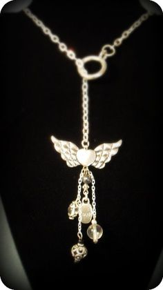 Winged heart lariat necklace