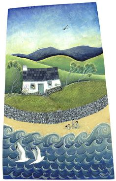 Painter Valeriane Leblond paints onto wooden panels, drawing on the traditional Welsh way of life. Yet, as greeting cards, her images capture life well beyond the Irish sea. Green Pebble is Landscape Quilts, Landscape Art, Nostalgia Art, Primitive Folk Art, Naive Art, Oeuvre D'art, Painting Inspiration, Unique Art, Painting & Drawing
