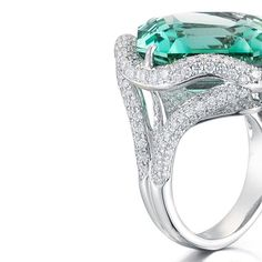 Paolo Costagli 8.07 carat emerald cut mint tourmaline set with 334 round brilliant diamonds in 18kt white gold. Available exclusively at @bergdorfs
