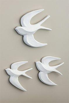 Flocking Birds Wall Art - Set of 3 - EziBuy