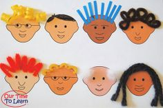 Lesson about hair - Worksheet/craft from ABOUT ME (activity book). This cute worksheet is included in the book! ---preschool kindergarten home school science curriculum, human body, body systems, anatomy