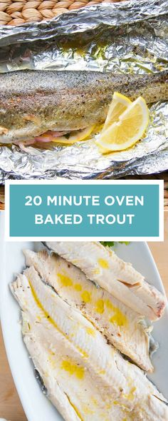 How to make healthy oven baked trout! This easy trout recipe makes use of foil packets (you can also use parchment) to bake the trout until moist and flaky. See the recipe with a short video showing you how to make it.