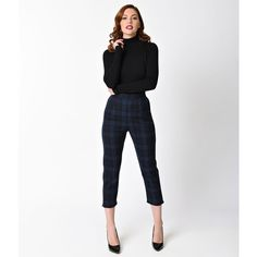 Hell Bunny 1950s Style Navy Blue Tartan Livingstone Cigarette Capri... ($56) ❤ liked on Polyvore featuring pants, capris, white capris, high waisted pants, high-waisted pants, plaid pants and navy capris