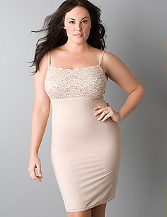 3c98a7148b11b Plus size Slimming Lace Trimmed Slip