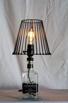 750 ml Lunazul Tequila Bottle Lamps w/ Edison Bulb