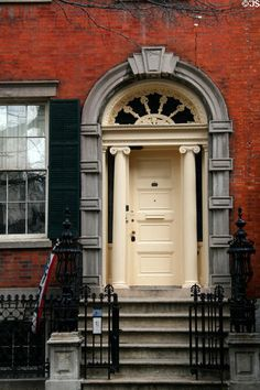 Greek revival front door of Old Merchant's House Museum. New York, NY.    Photo by Jim Steinhart © 2011, all rights reserved. (Ref: NYMK103)