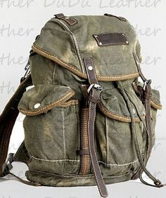 Backpack Genuine Cow Leather Bag Canvas Bag Canvas por DuDuLeather, $59.00
