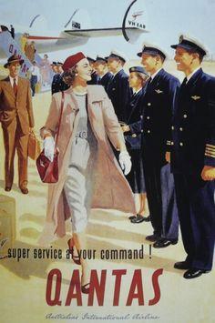 Vintage QANTAS poster (Australia's first airline) Retro Ads, Vintage Advertisements, Vintage Ads, Vintage Airline, Travel Ads, Airline Travel, Air Travel, Images Vintage, Vintage Travel Posters