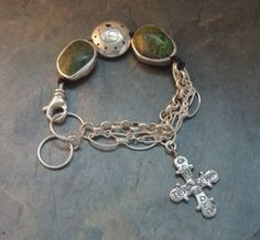 Artisan Jewelry - Turquoise Bracelet, Sterling Silver, Silver Rimmed Stones, Artisan Silver Cross, Southwest Silver Slider Bead, Sundance