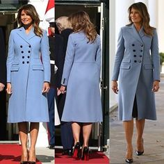 Milania Trump Style, Standing Poses, First Lady Melania Trump, Designer Evening Dresses, Blue Coats, Double Breasted Coat, Beautiful People, Beautiful Things, Ready To Wear