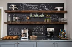 the chalkboard behind these shelves are pretty awesome