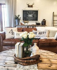 34 Stunning Rustic Farmhouse Living Room Decor Ideas An open living room and kitchen where the family eats was created in captivating farmhouse style rendering it a warm and inviting heart for the house. The focal point in [Continue Read] Farmhouse Tabletop, Farmhouse Style Kitchen, Country Farmhouse Decor, Rustic Decor, Modern Farmhouse, Farmhouse Ideas, Vintage Farmhouse, Vintage Decor, Rustic Style