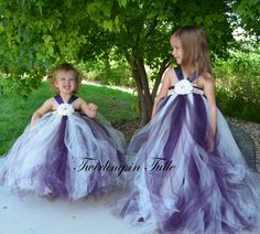 Flower Girl Dress Eggplant and Ivory Tulle by TwirlinginTulle