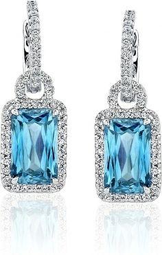Simon G Aquamarine Earrings with Pave Diamonds