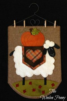 Falling for Eugenia Wool Applique Wall Hanging Sheep Penny Rug from The Woolen Penny  http://thewoolenpennyshop.blogspot.com/
