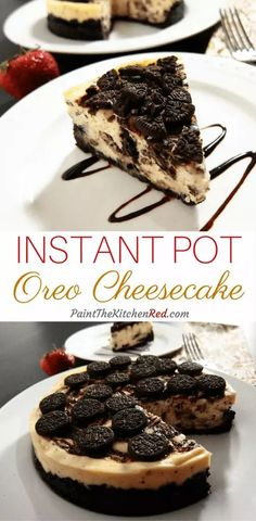 This Chocolate Swirl Instant Pot Oreo Cheesecake has a triple dose of chocolate: a generous Oreo crust Oreo cookies in the batter and melted chocolate swirled in. Its super easy to prepare and hard to mess up in the Instant Pot! from Paint the Kitchen Red Chocolate Swirl, Chocolate Cheesecake, Melted Chocolate, Cake Chocolate, Oreo Crust Cheesecake, Oreo Cheesecake Recipes, Raspberry Cheesecake, Chocolate Lovers, Instant Pot Pressure Cooker