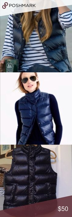J Crew New Navy Glossy Down Puffer Vest J Crew New Navy beautiful Glossy Down Puffer Vest! Size XS. Never worn. So versatile. Wear with flannel shirt, jeans and boots on the weekend, wear with nautical striped shirt and white pants and cute flats on a breezy spring day, wear with a cashmere sweater and dark skinny jeans and bootieson a crisp fall day, wear with a Henley shirt and boyfriend jeans and converse sneakers to the mall or movies! So many ways to enjoy this piece! J. Crew Jackets…
