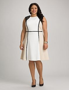 Plus Size | Plus Size Neutral Colorblock Dress | dressbarn