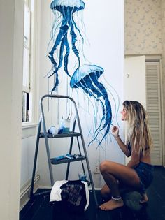 Wall Painting Decor, Mural Wall Art, Diy Wall Art, Wall Decor, House Wall Painting, Painting Murals On Walls, Simple Wall Paintings, Bedroom Murals, Bedroom Wall