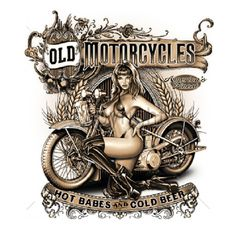 Old Motorcycle Hot Babes Biker  T - SHIRT  Item no. 049g by AlwaysInStitchesCo on Etsy